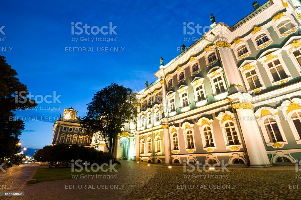 Hermitage museum in St Petersburg at Night royalty-free stock photo