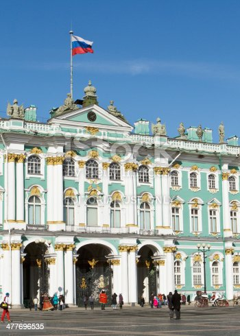 St Petersburg, Russia - March 18, 2012: The Entrance to the State Hermitage Museum in St Petersburg Russia