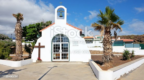 Ermita Nuestra Senora del Carmen, Abades, Tenerife, Canary Islands, Spain - January 20, 2019: the church in Abades, a small village previously known as Los Abriguitos, in the south-east of Tenerife.