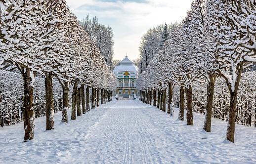 Hermitage pavilion in Catherine park in winter, Tsarskoe Selo (Pushkin), St. Petersburg, Russia