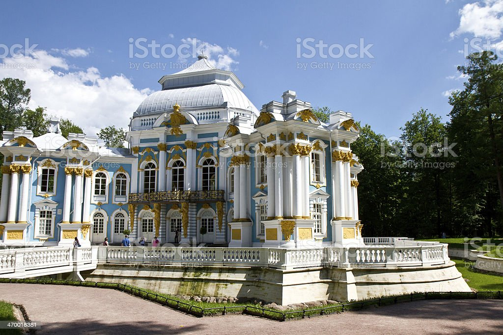 Hermitage pavilion in The Catherine Park, Russia stock photo