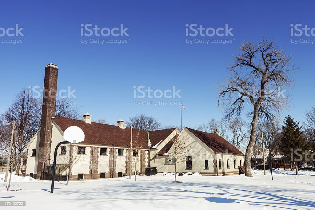 Hermosa Park Field House in Winter, Chicago royalty-free stock photo