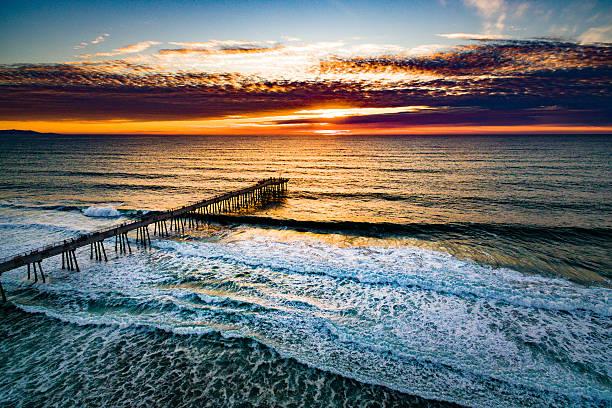 Hermosa Pier Sunset stock photo