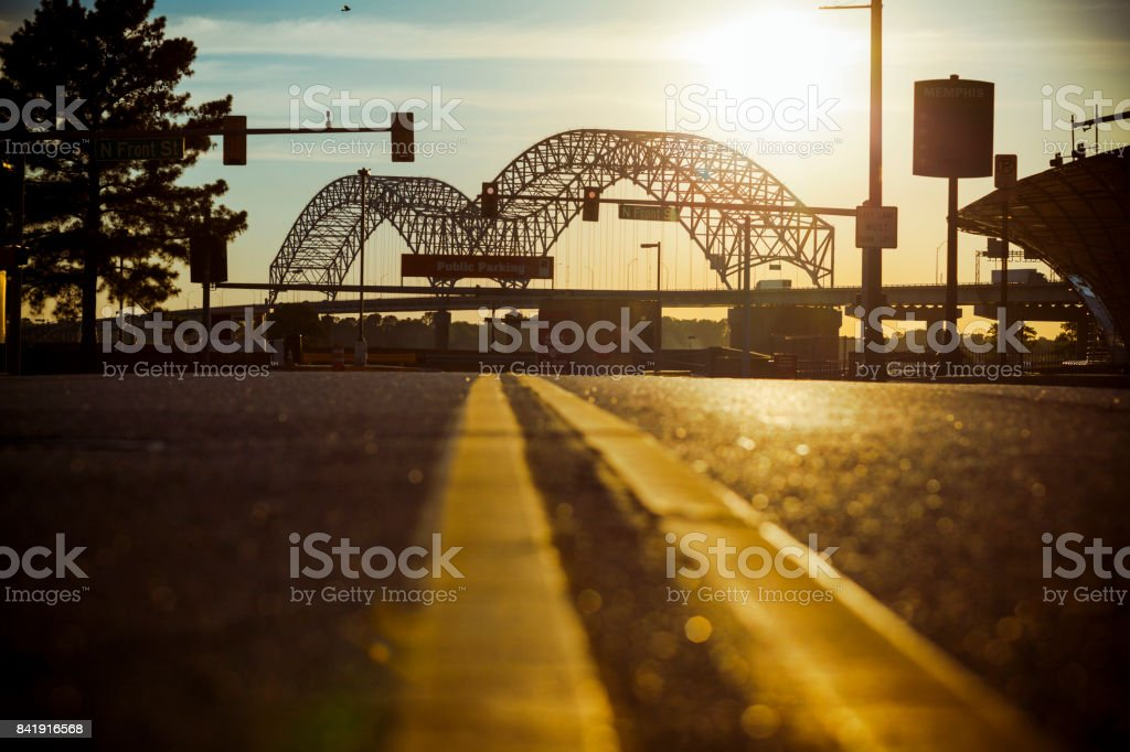 Hernando de Soto Bridge in Memphis, TN stock photo