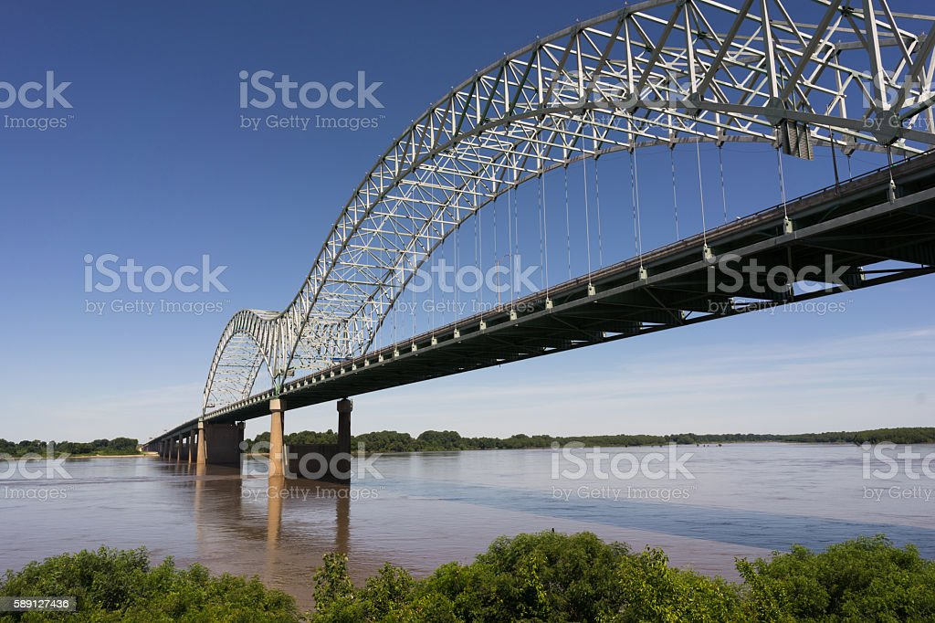 Hernando de Soto Bridge Spanning Mississippi River Arkansas Tennessee stock photo