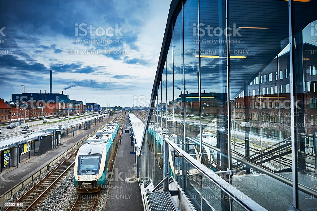 Herning Station with glass facade stock photo