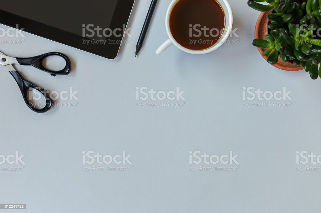 Hero header image with office items stock photo
