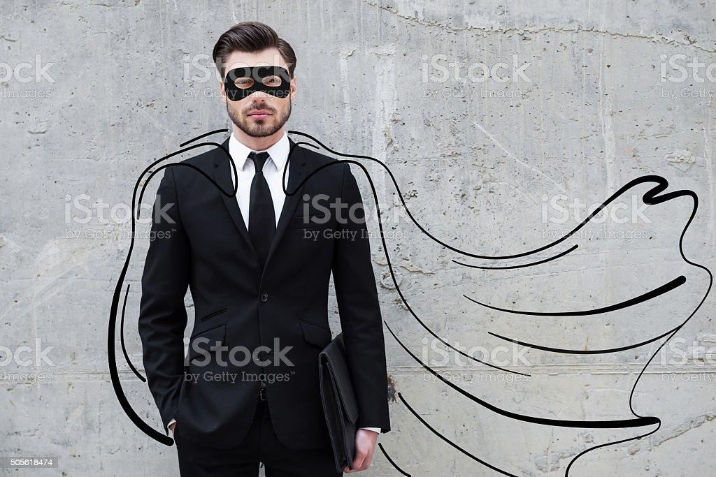 Hero in his business. stock photo