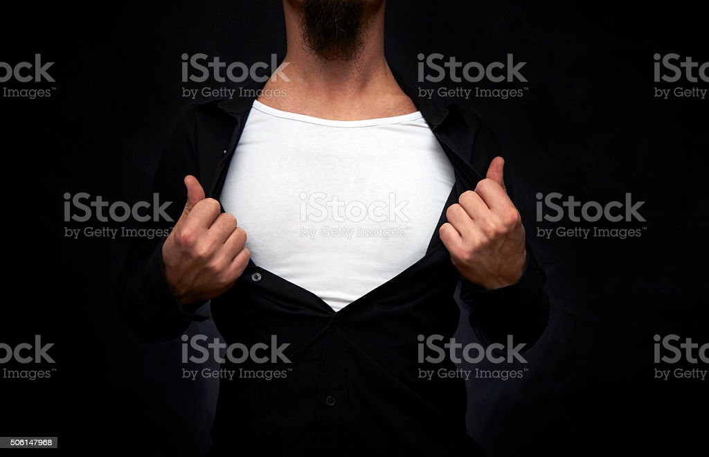 Hero showing white t-shirt stock photo