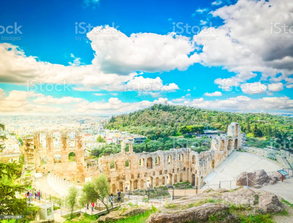 Herodes Atticus amphitheater of Acropolis, Athens zbiór zdjęć royalty-free