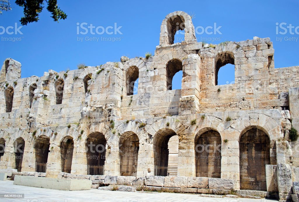 Herodes Atticus theater Athens Greece stock photo