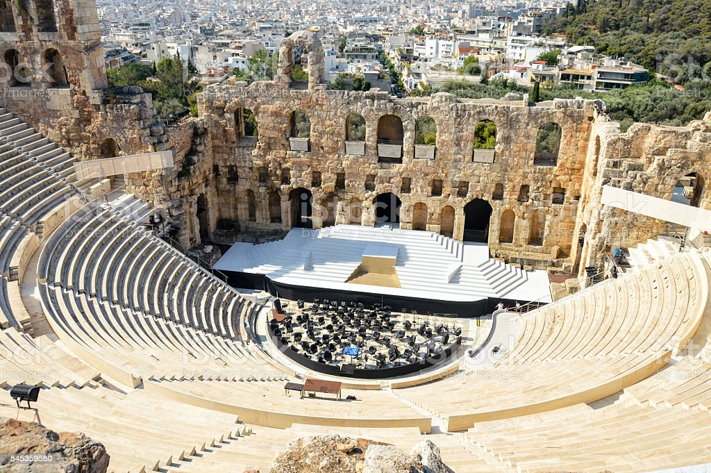 Herodes theater of the Acropolis in Athens, Greece stock photo