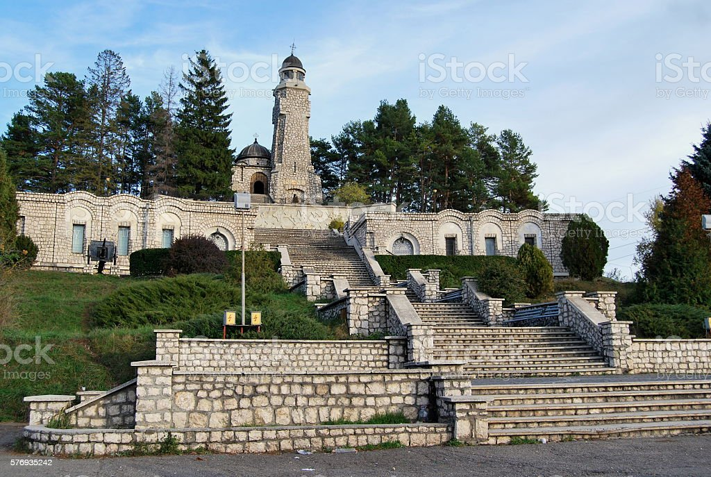 Heroes Mausoleum in Valea Mare-Pravat. stock photo
