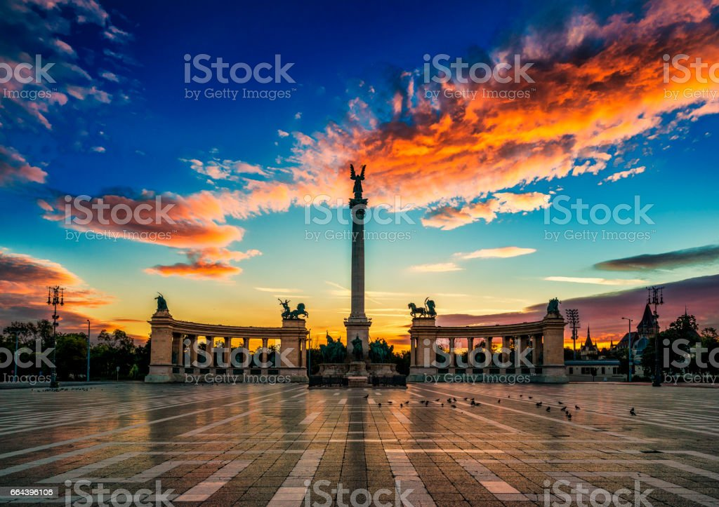 Heroes Square at dawn, Budapest, Hungary stock photo