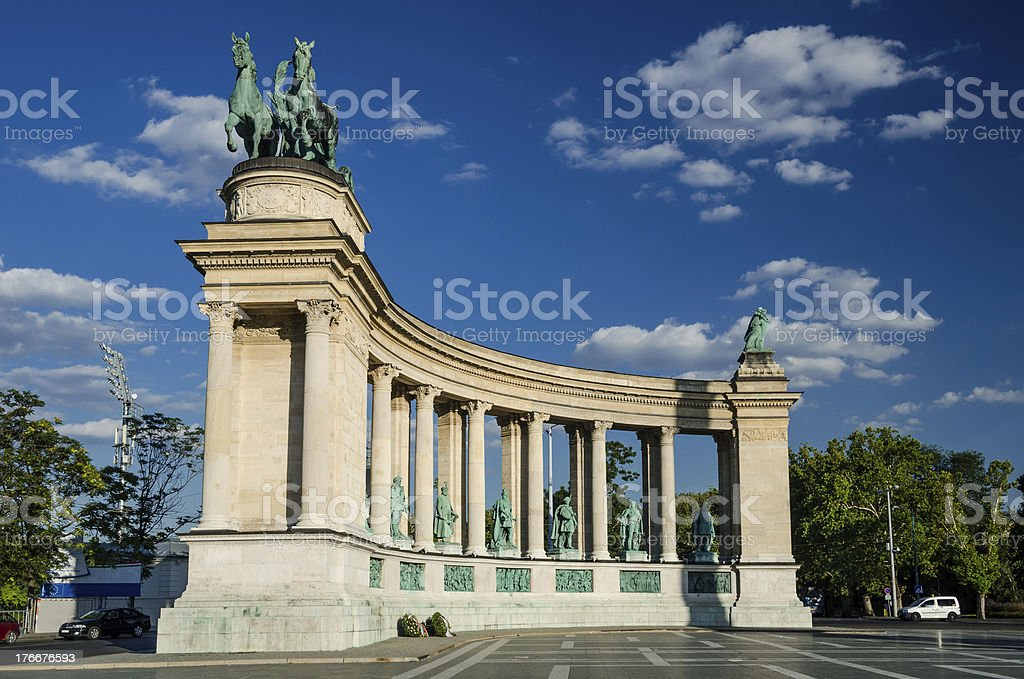 Heroes' Square statue in Budapest royalty-free stock photo