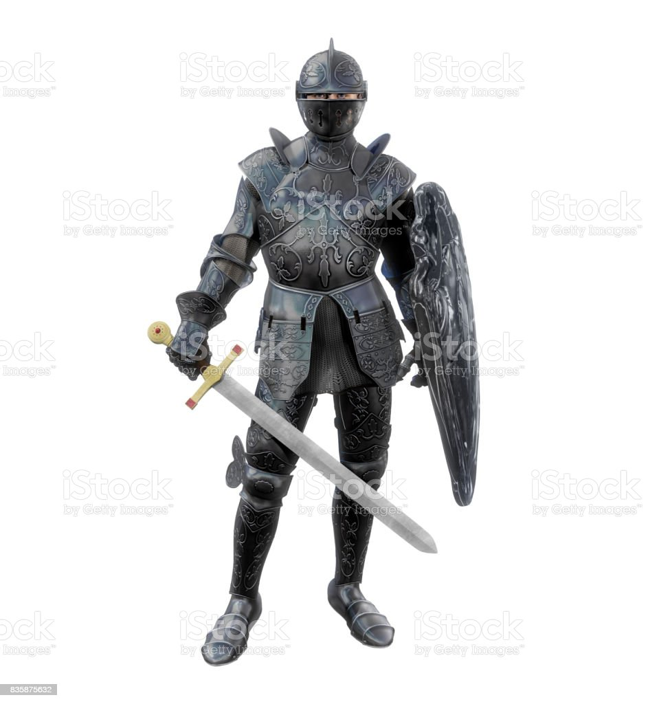 Heroic Medieval Knight in Battle Armour stock photo