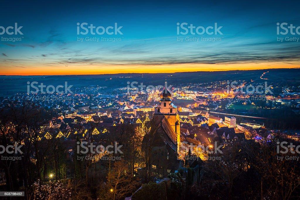 Herrenberg at Night stock photo