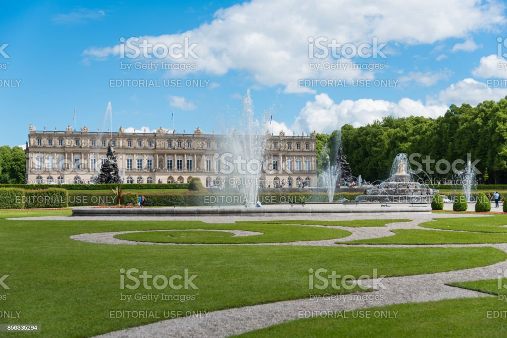 Herrenchiemsee Palace and its garden stock photo