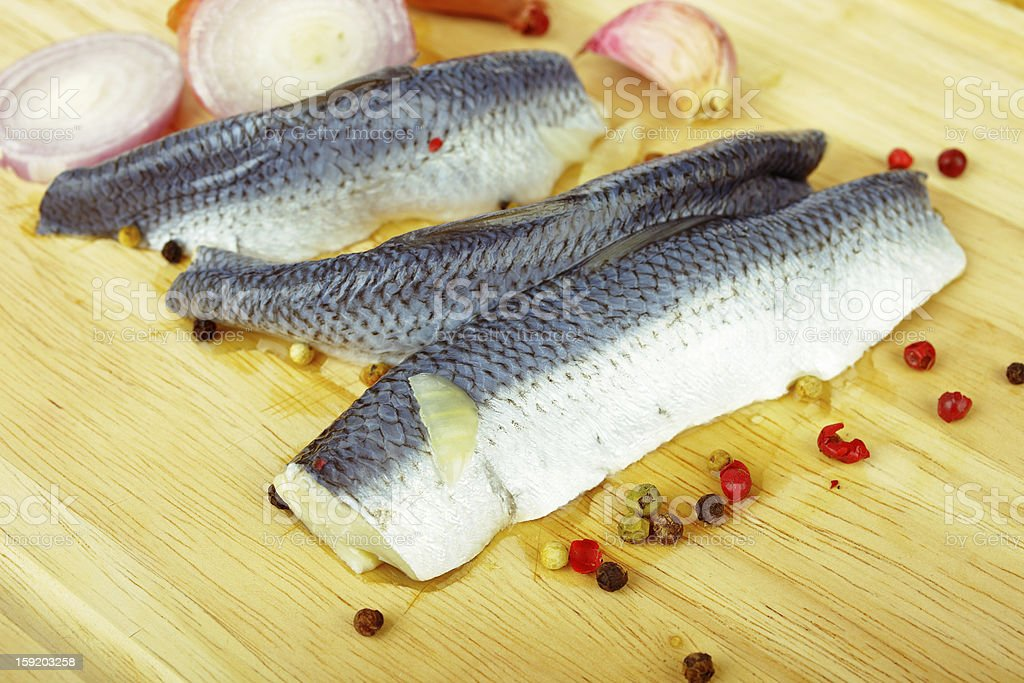 Herring and onion royalty-free stock photo