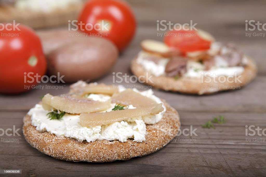 Herring caviar on the toast royalty-free stock photo