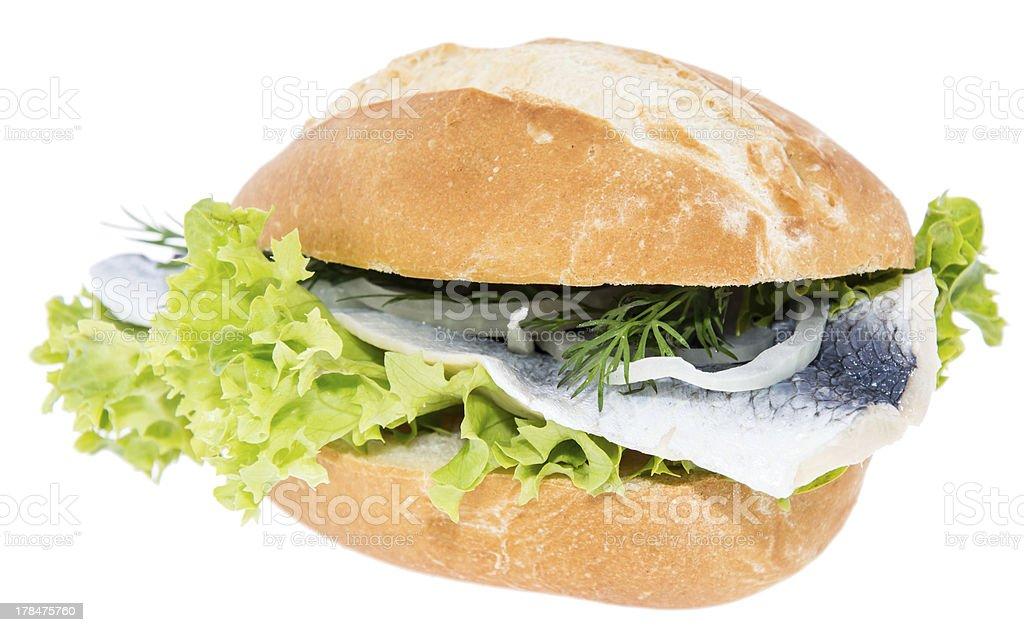 Herring on a bun (white background) stock photo