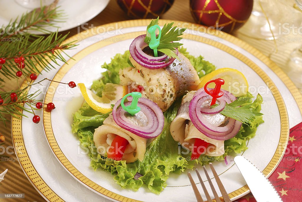 herring rollmops for christmas royalty-free stock photo