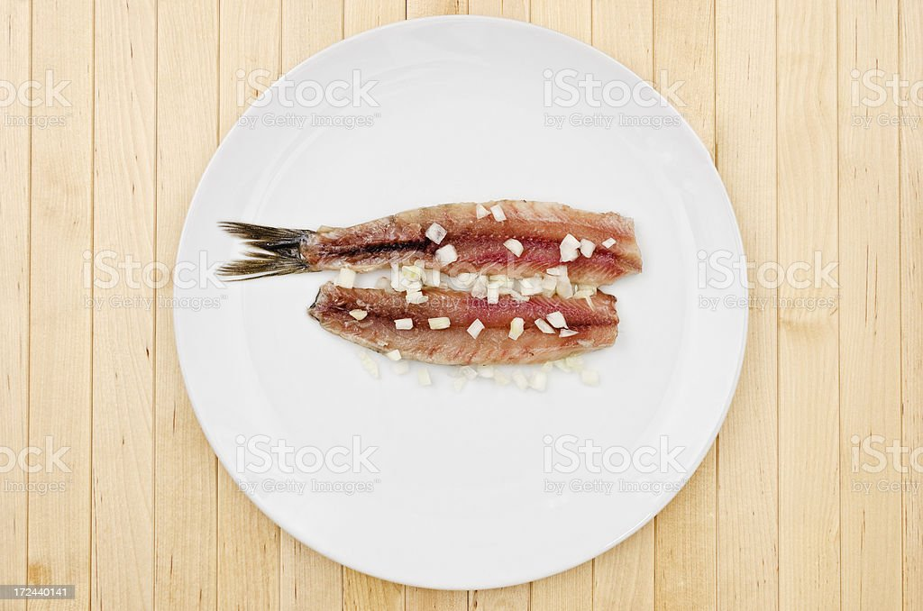 Herring with onion - Dutch haring royalty-free stock photo