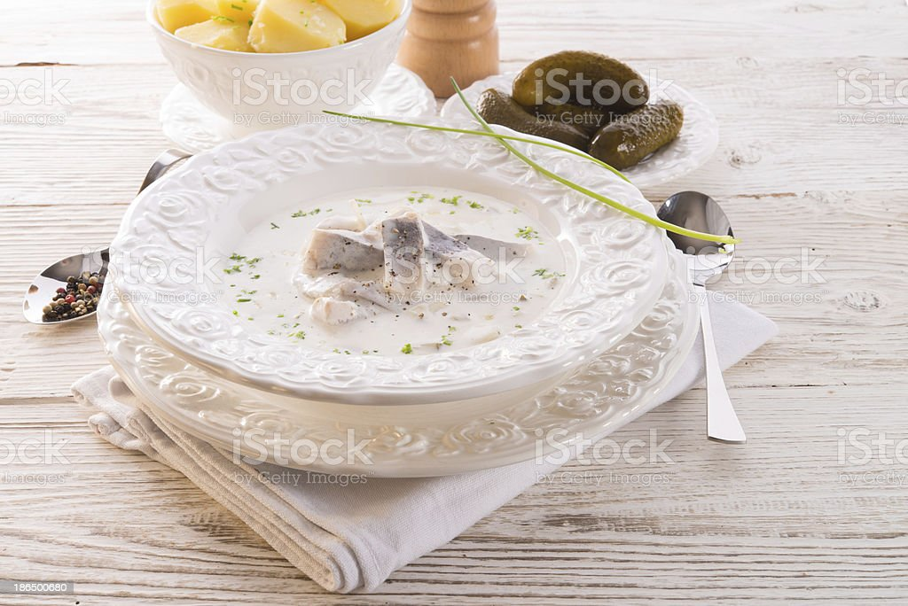 herring with potato and cream royalty-free stock photo