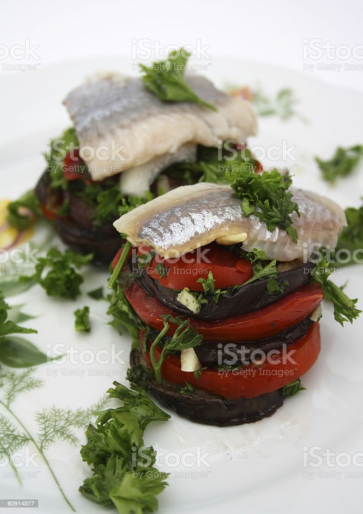 Herring with vegetables royalty-free stock photo