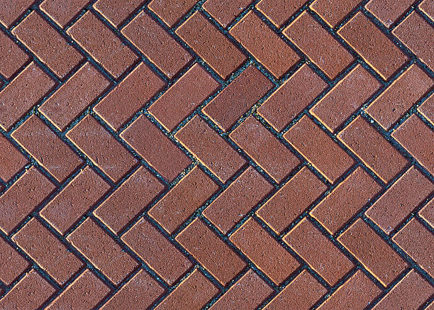 Herringbone Brick Pavers stock photo