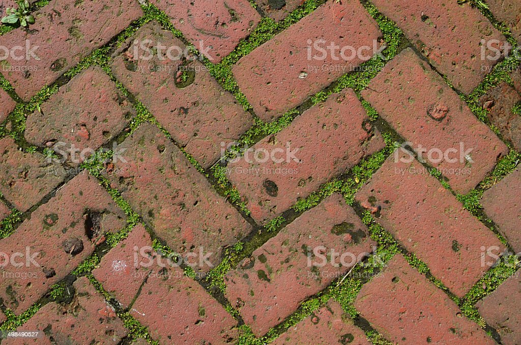 herringbone brick paving royalty-free stock photo
