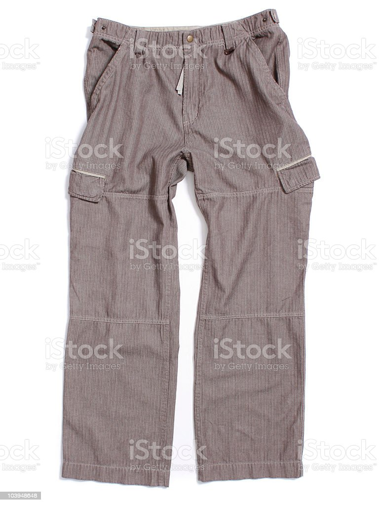Herringbone Cargo Pants on White Background stock photo