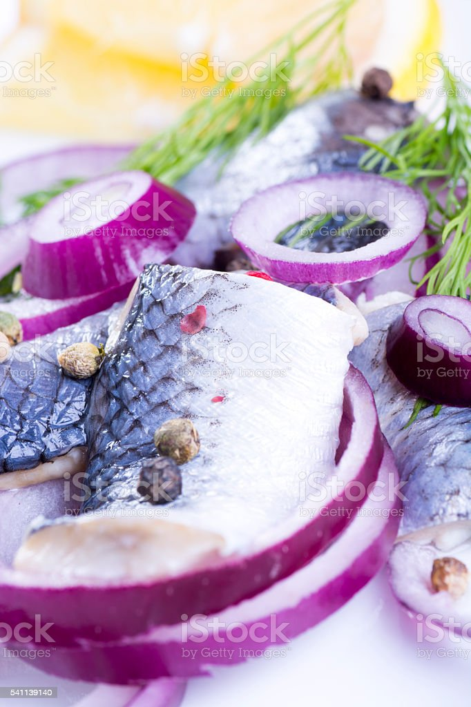 Herrings on a plate stock photo