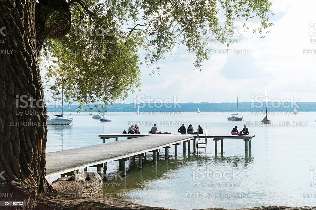 Herrsching at Lake Ammersee stock photo