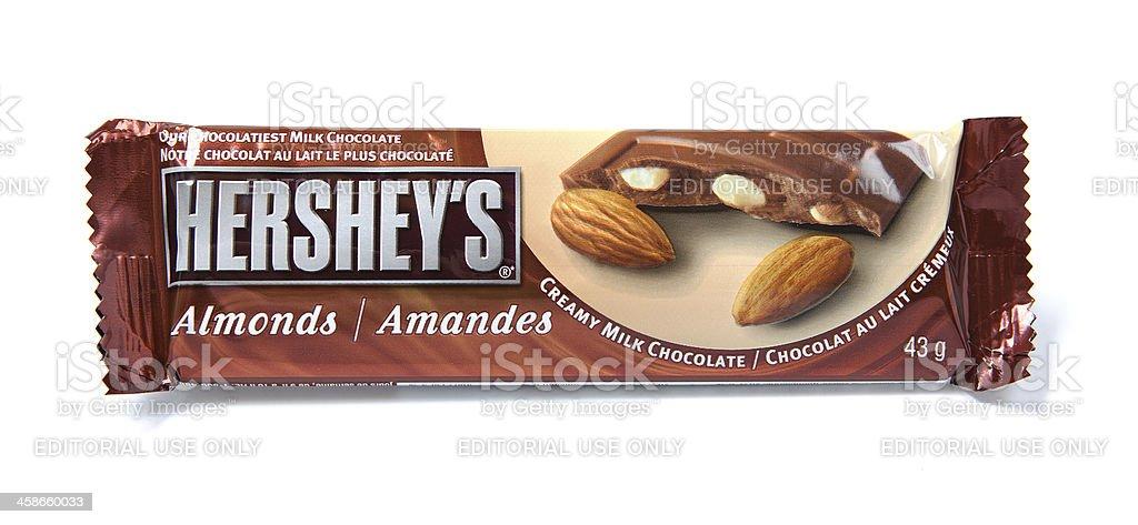 Hershey's Almonds Creamy Milk Chocolate Candy Bar stock photo