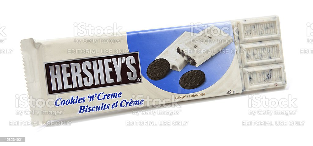 Hershey's Cookies 'n' Creme Candy Bar Unwrapped stock photo