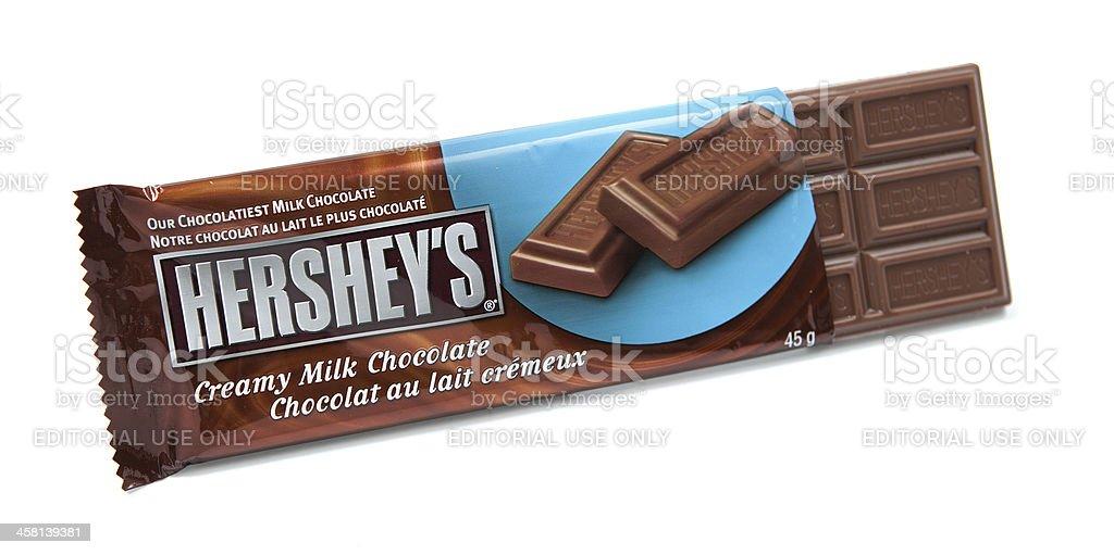 Hershey's Milk Chocolate Candy Bar Unwrapped stock photo