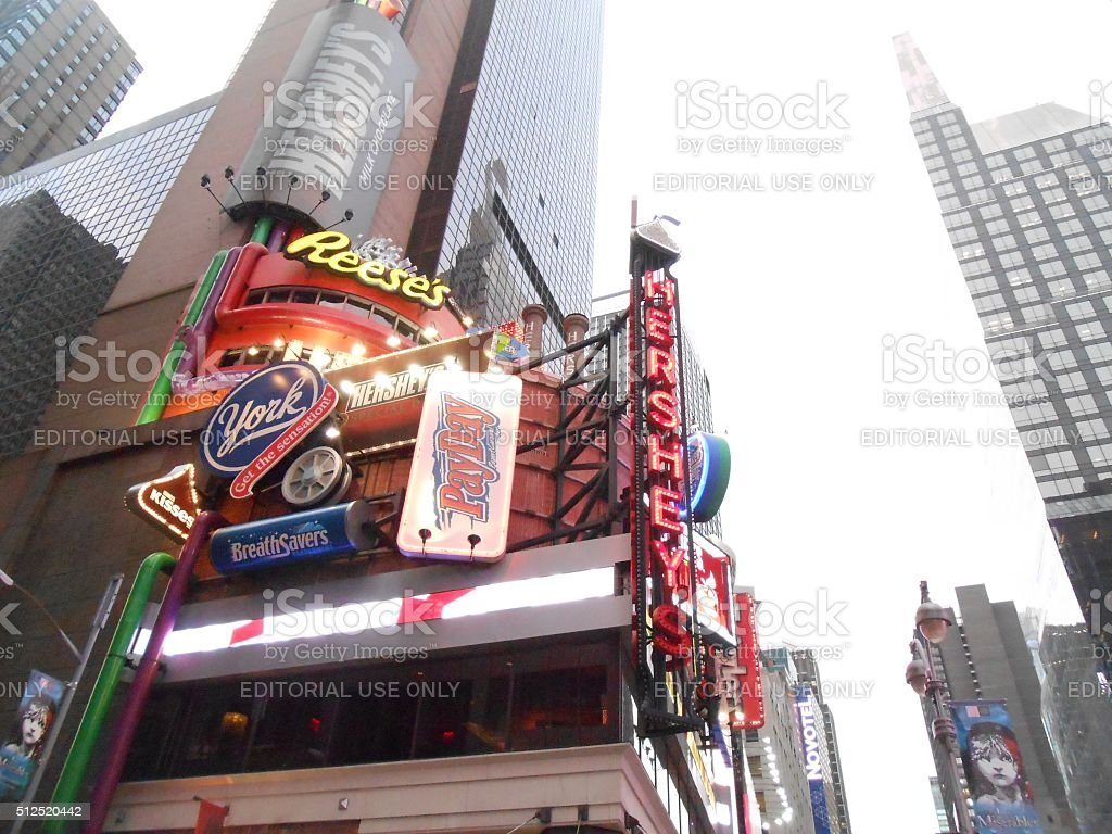 Hershey's Store on Times Square in Manhattan. stock photo
