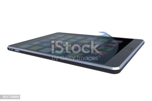 Hersteller neutraler Tablett PC mit falte im Glasdisplay als Rendering.