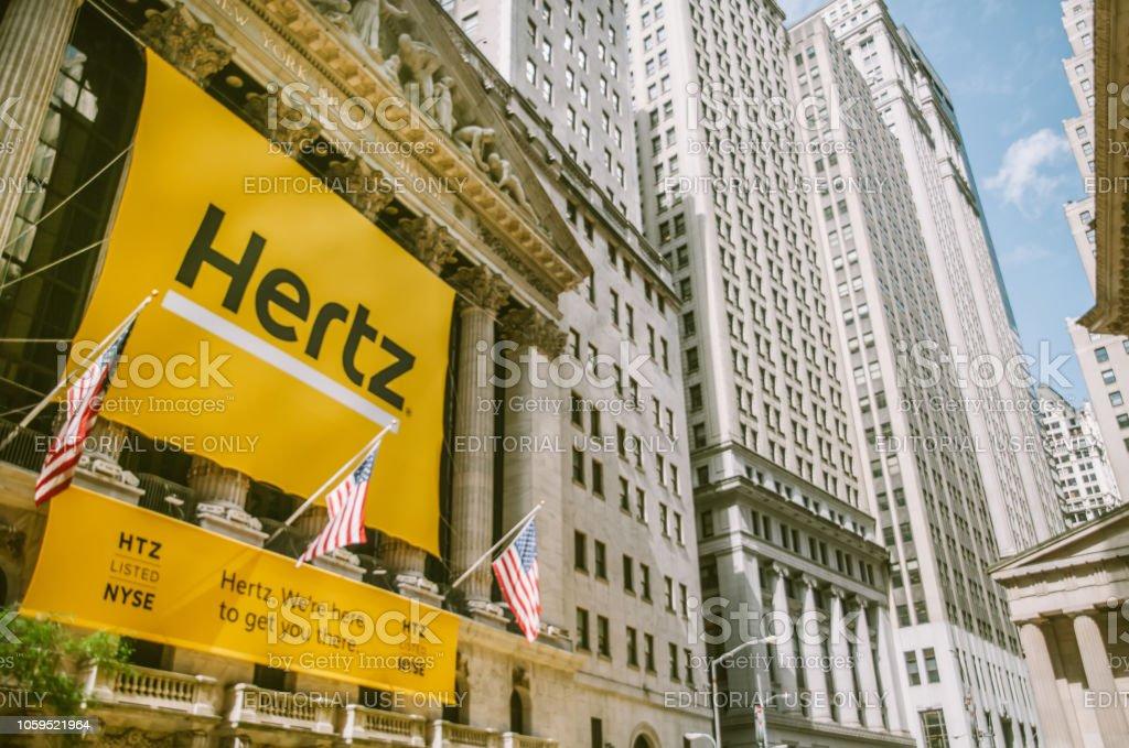 Hertz on New York Stock Exchange building stock photo