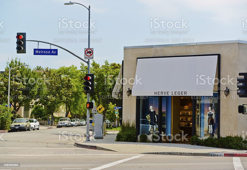 Herve Leger Store on Melrose Avenue, Los Angeles stock photo