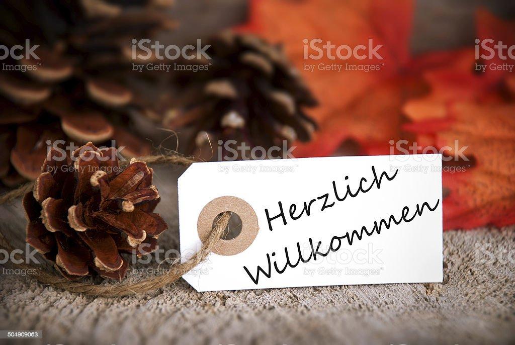 Herzlich Willkommen on Fall Label stock photo