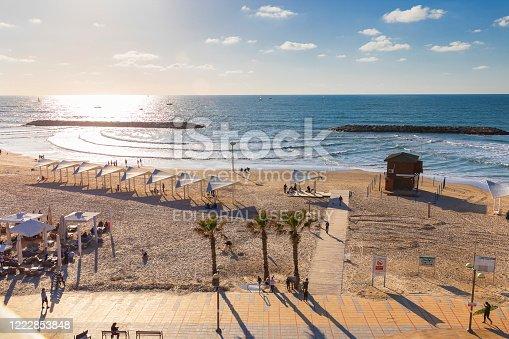 Herzliya, Israel - March 05, 2020:Herzliya beach in Israel at sunset