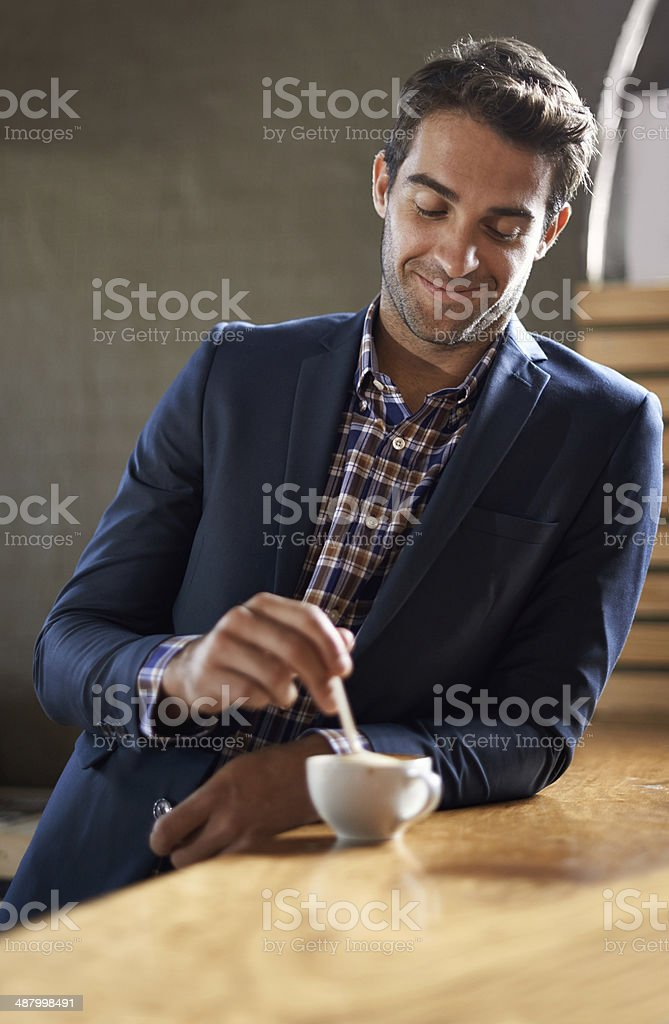 He's a coffee connoisseur stock photo