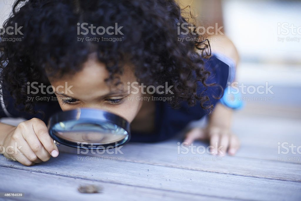 He's a curious kid stock photo