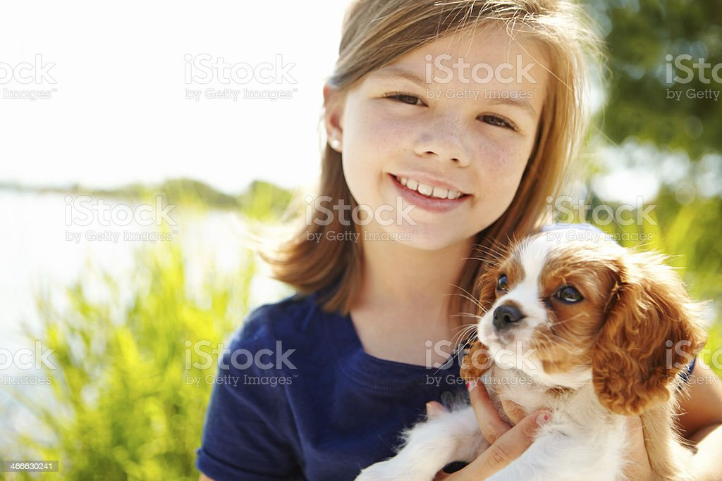 He's a girl's best friend stock photo