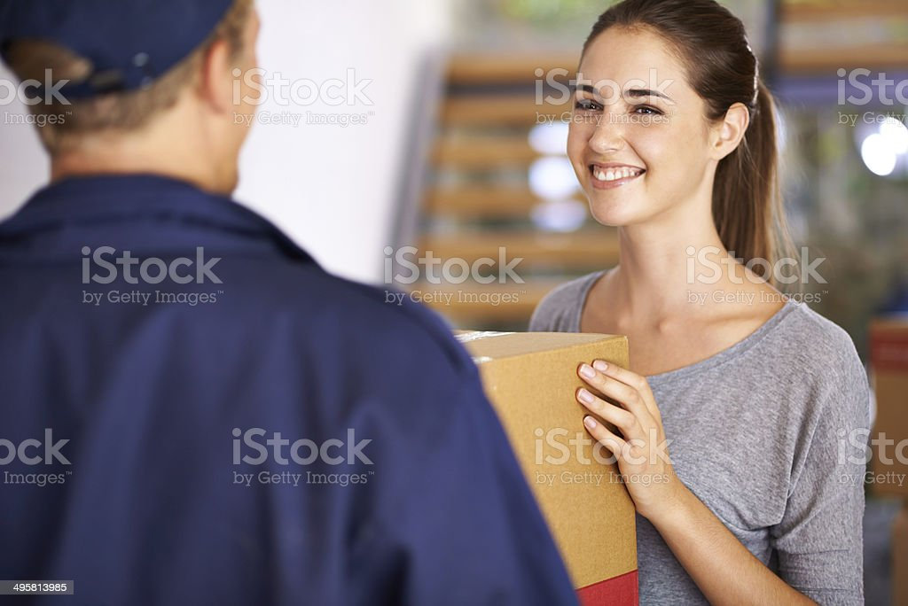 He's a professional who'll care for your parcel royalty-free stock photo