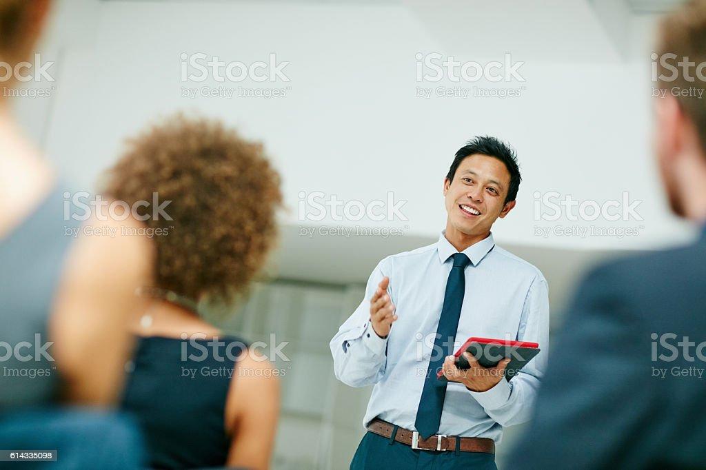 He's acing this presentation! stock photo