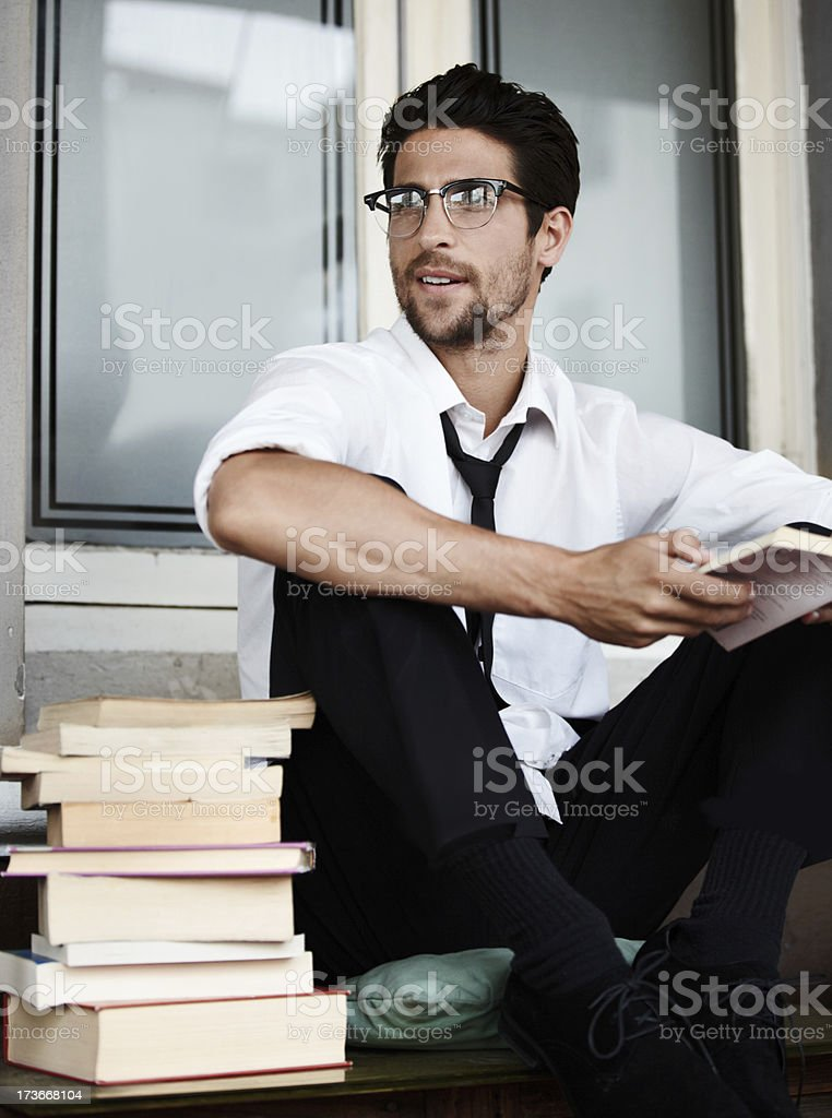 He's an avid reader royalty-free stock photo