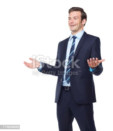 An exuberant executive gesturing while presenting at a seminar - Isolated